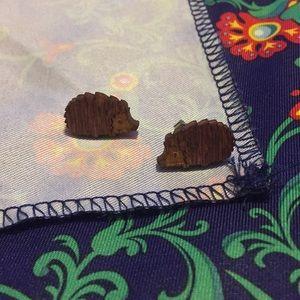 Small wooden hedgehog earrings